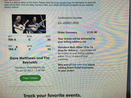 Dave Matthews Concert Tickets